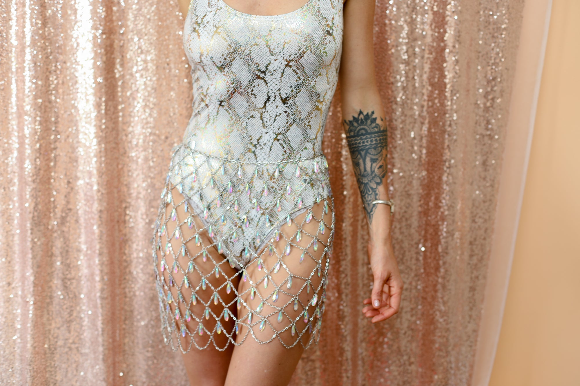 White Metallic Snakeskin Bodysuit; Gold and Silver Metallic Bodysuit; White Festival Bodysuit