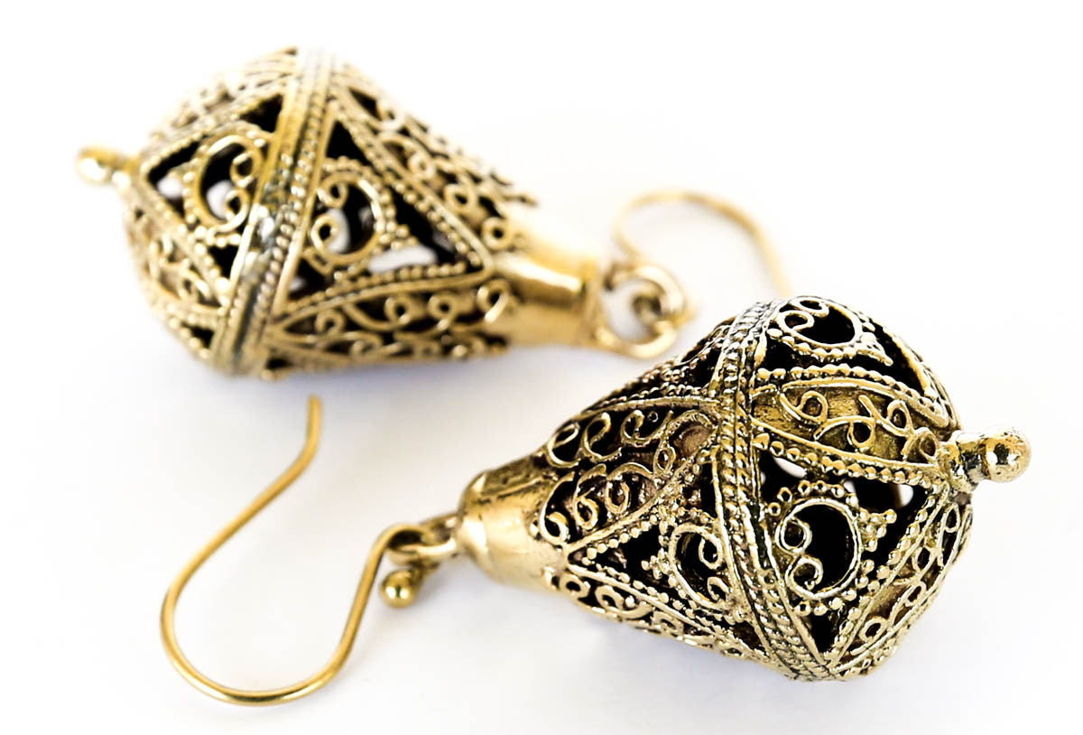 bohemian boho brass earrings