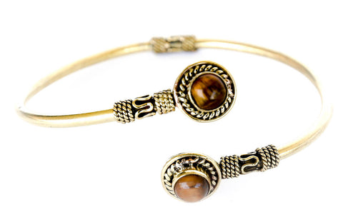 """Sheba"" Brass Bracelet with Semi-Precious Stones"
