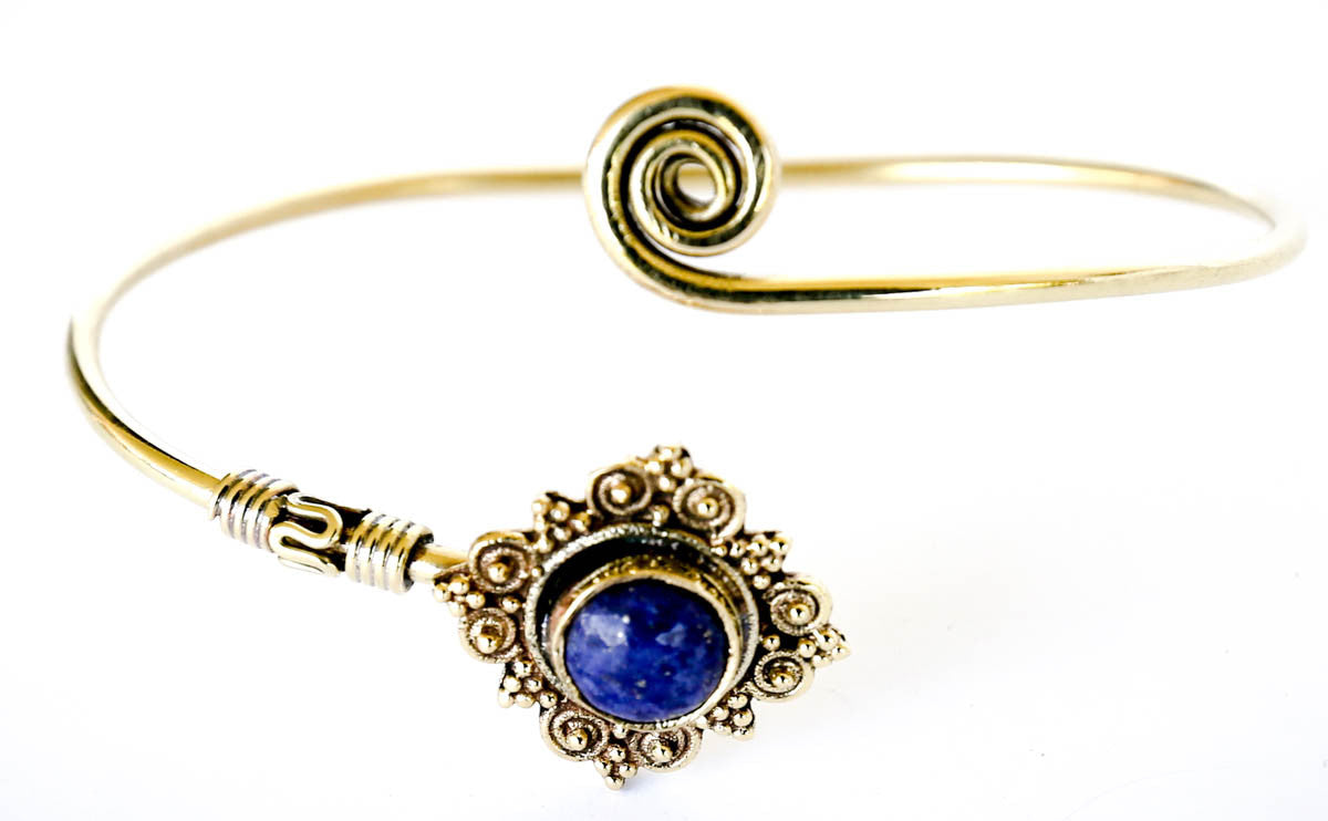 Nefertiti Brass Bracelet with Semi-Precious Stone