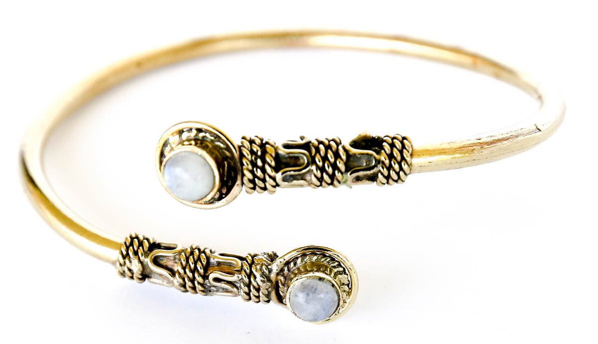 Egyptian brass bracelet bangle with moonstone
