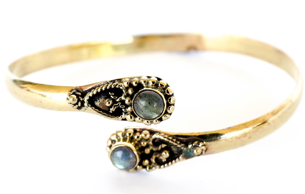 brass bracelet bangle labradorite