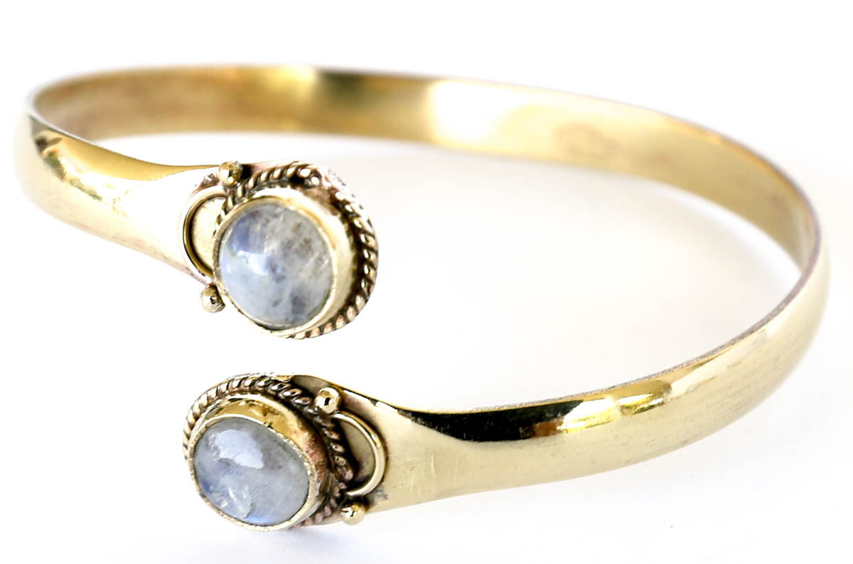 Brass bracelet bangle moonstone by Blonde Vagabond