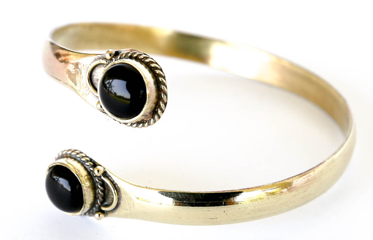 Brass bracelet bangle onyx by Blonde Vagabond