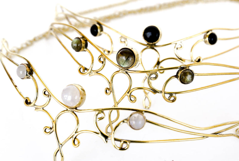 Elowen Brass Headpiece with Semi-precious Stones - Blonde Vagabond