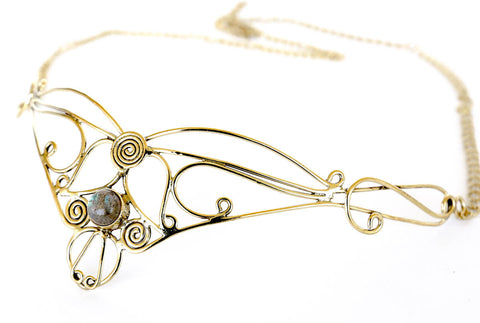 Elowen Brass Headpiece with Semi-precious Stones