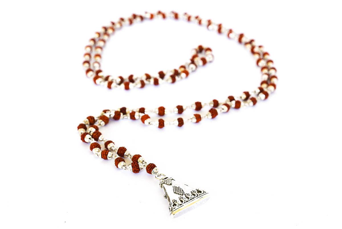 Real Silver and Rudraksha Mala 108 bead necklace