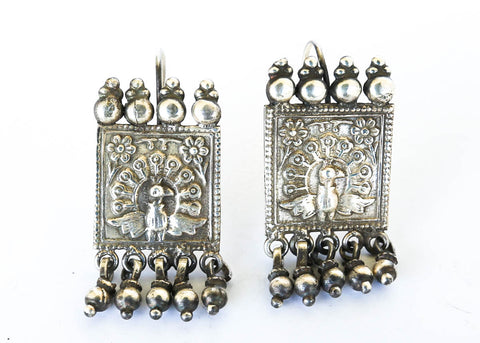 Peacock Princess Silver Earrings - Blonde Vagabond
