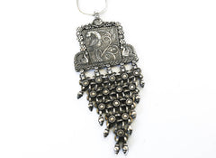 silver peacock tribal fusion jewelry necklace