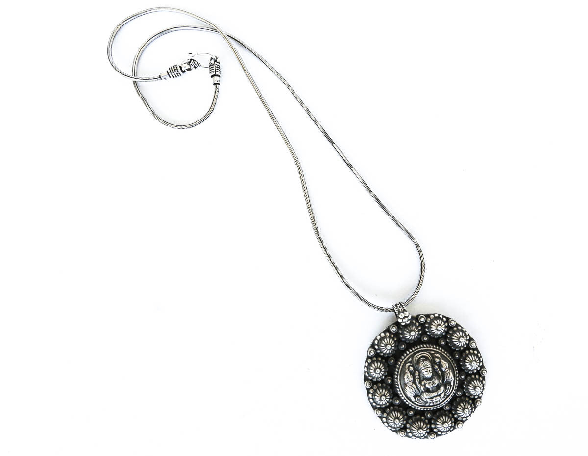 silver goddess lakshmi necklace pendant