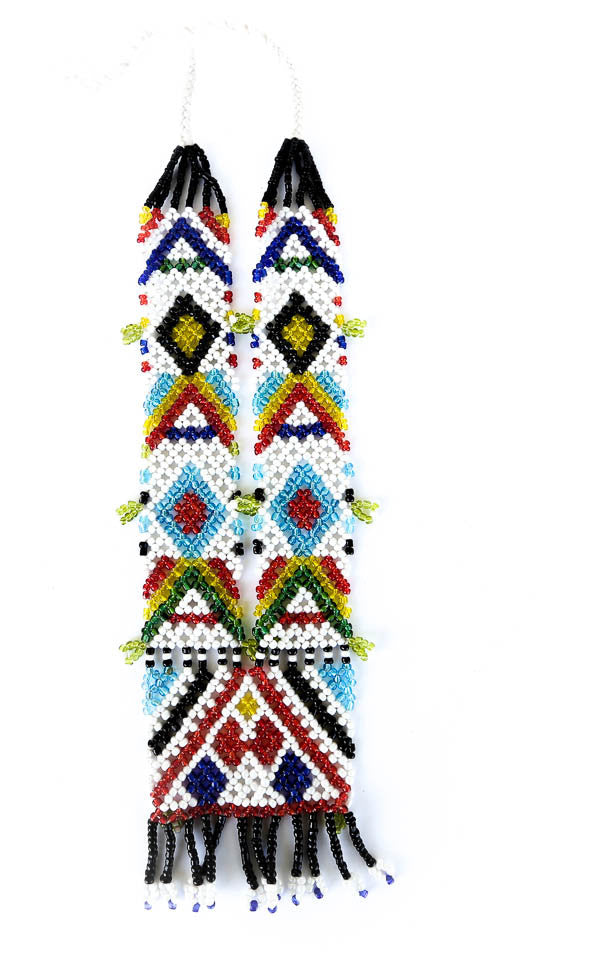 indigenous tribal beaded rainbow necklace