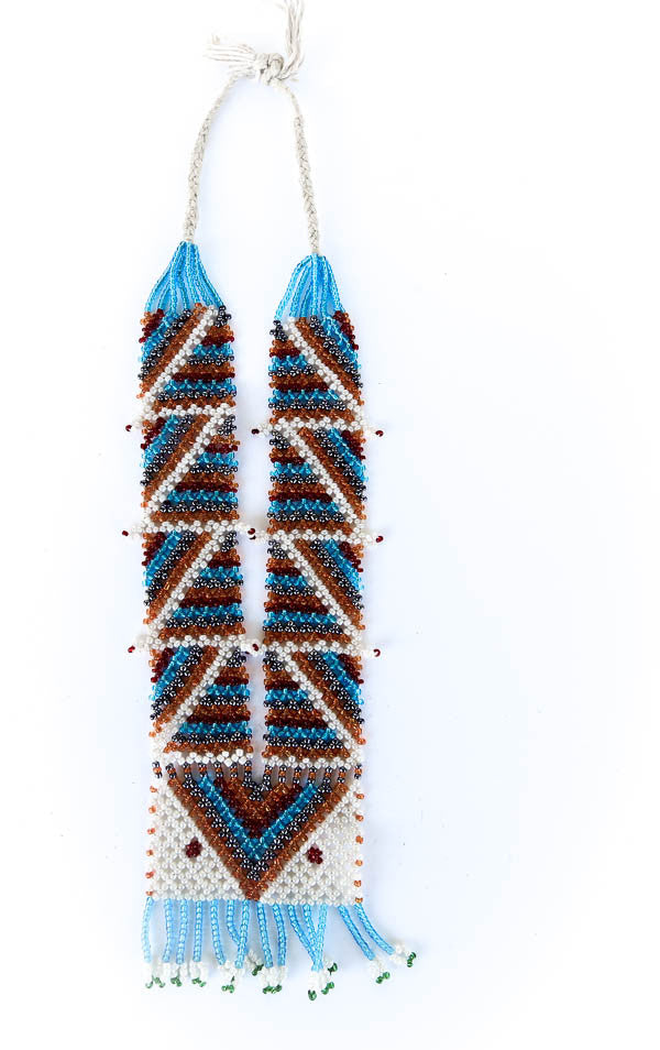 blue and red tribal necklace