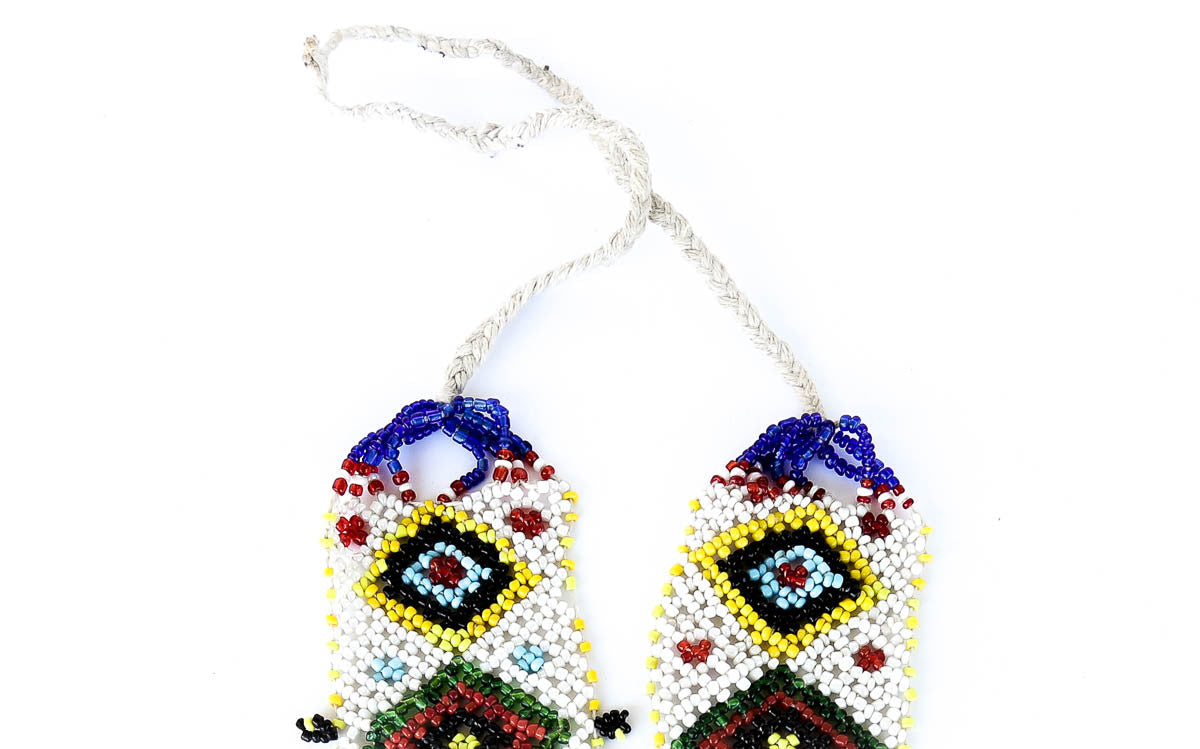"""Luiza"" Handmade Beaded Tribal Necklace - Blonde Vagabond"