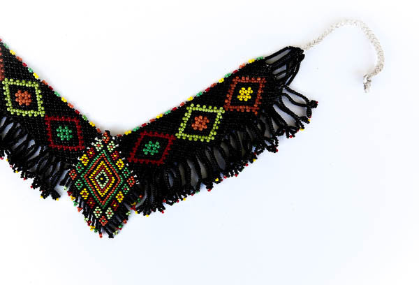 """Asheya"" Handmade Beaded Tribal Choker Necklace - Blonde Vagabond"