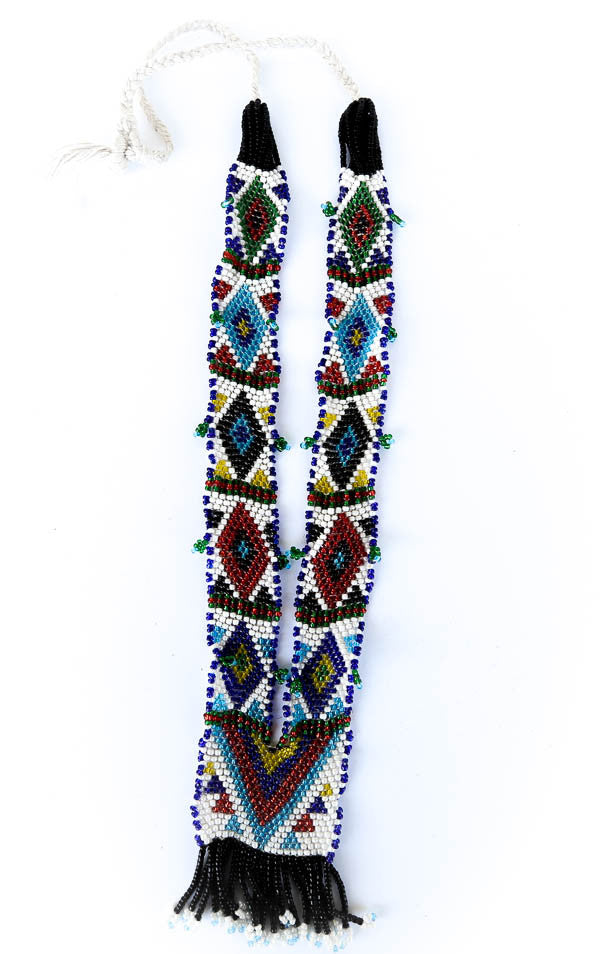 colorful beaded tribal necklace hanging
