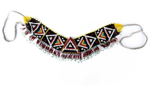 black and red tribal beaded choker necklace