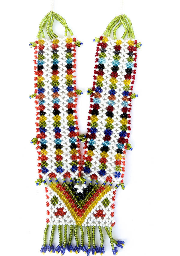 colorful rainbow tribal necklace green