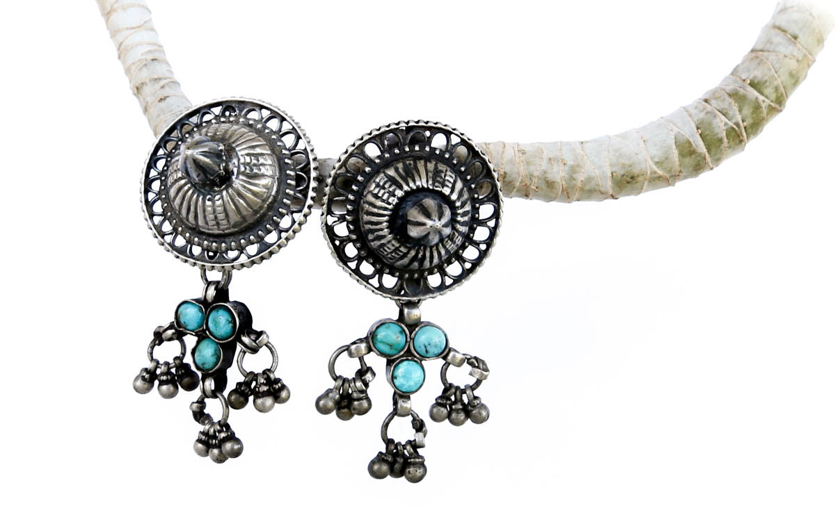 Authentic Vintage Tribal Gypsy Silver Earrings with Turquoise - Blonde Vagabond