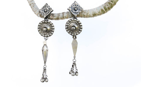 Peacock Princess Silver Earrings