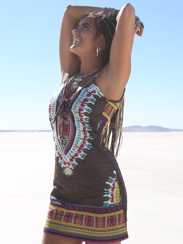 Night Tripper Festival Dress - Pachamama Brown