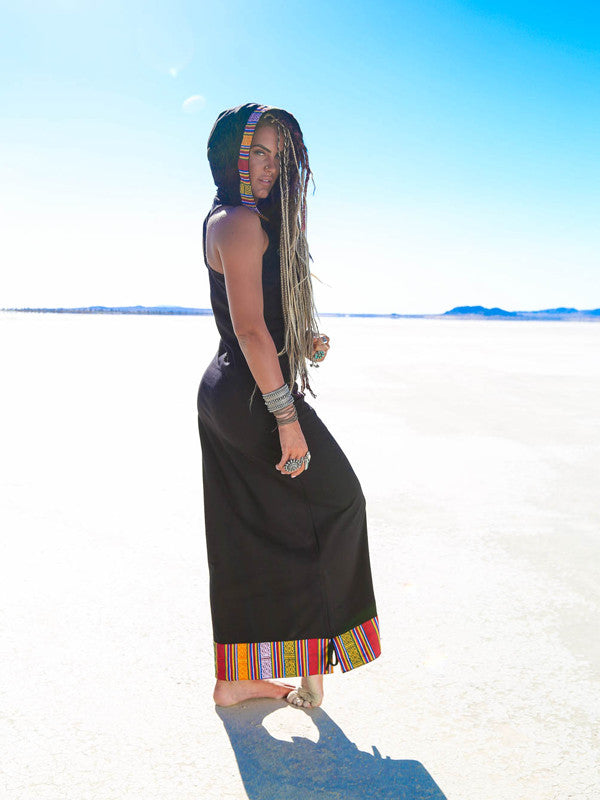 Zzyzx Festival MAXI Hoodie Dress - Black - Blonde Vagabond