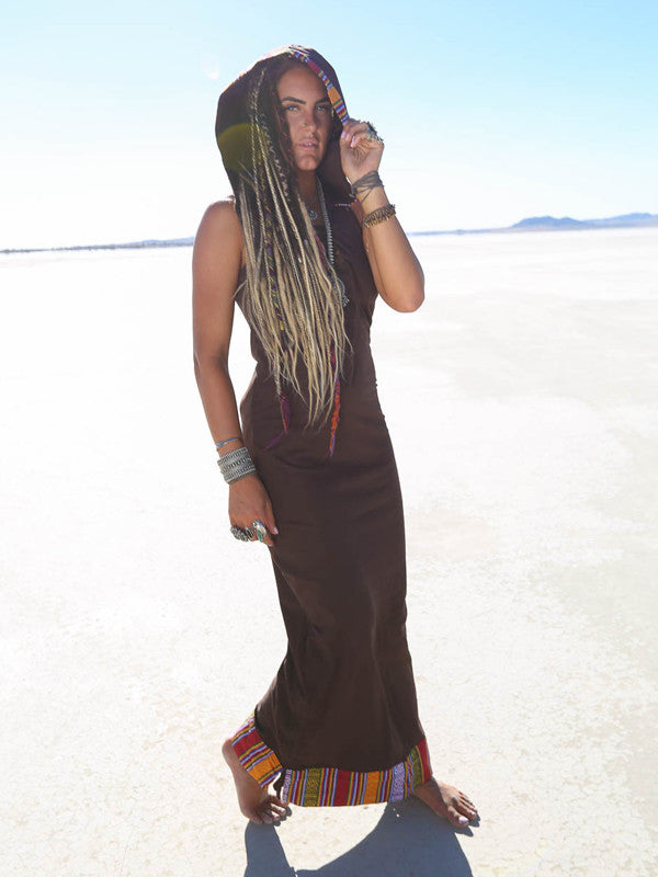 Zzyzx Festival MAXI Hoodie Dress - Brown - Blonde Vagabond