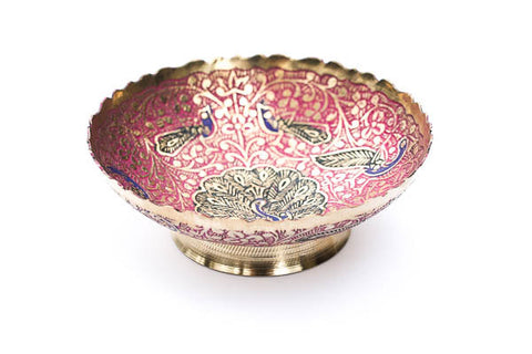 Pink and blue Peacock Ritual Bowl