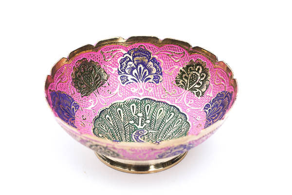 Pink, Blue and Green Peacock Ritual Bowl - Blonde Vagabond