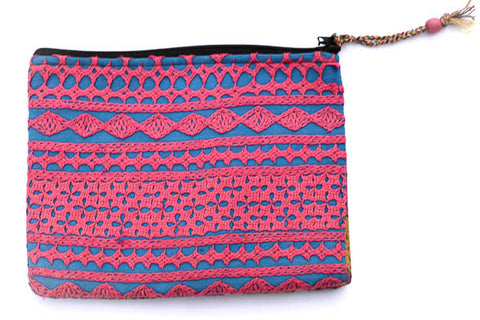 Handstitched Blue & Pink Clutch