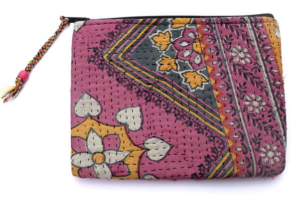 Handstitched Blue & Pink Clutch - Blonde Vagabond