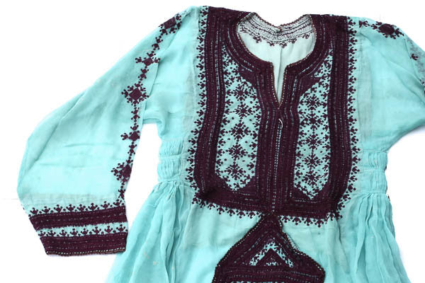 Hand embroidered Balochi Tribal Dress - Tiffany Blue - Blonde Vagabond
