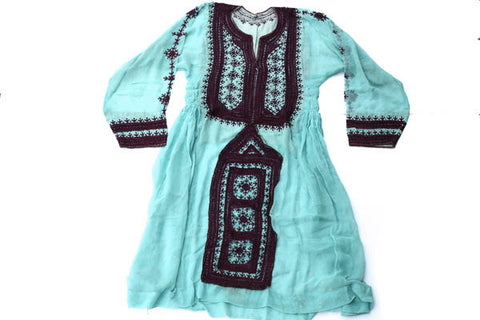 Hand embroidered Balochi Tribal Dress - Tiffany Blue