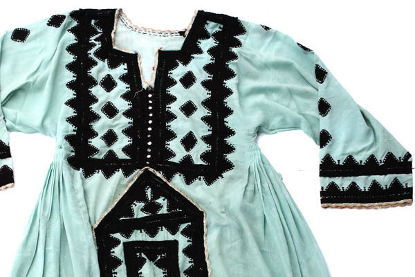 Hand Embroidered Balochi Tribal Dress - Sweet Skies