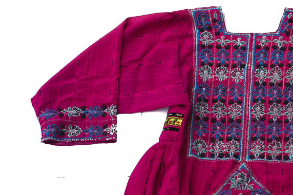 Hand embroidered Balochi/Afghani Tribal Dress - Pink Boho - Blonde Vagabond