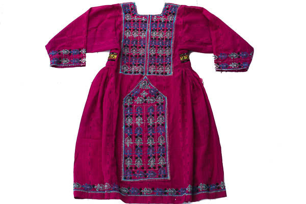 Hand embroidered Balochi/Afghani Tribal Dress - Pink Boho