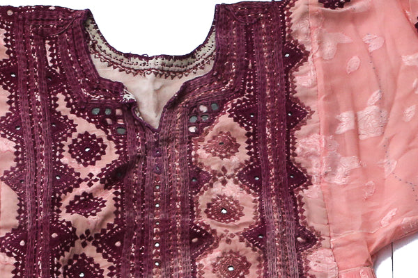 HAND EMBROIDERED BALOCHI/AFGHANI TRIBAL DRESS - PINK LOVE - Blonde Vagabond