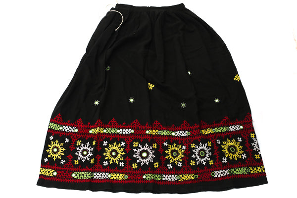 HAND EMBROIDERED GUJARATI BOHO MAXI SKIRT - QUEEN OF THE NIGHT - Blonde Vagabond