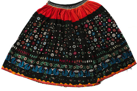 HAND EMBROIDERED GUJARATI BOHO MAXI SKIRT - MIDNIGHT KISS