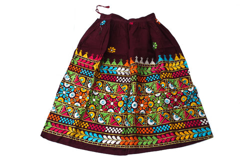 HAND EMBROIDERED GUJARATI BOHO MAXI SKIRT - LALITA