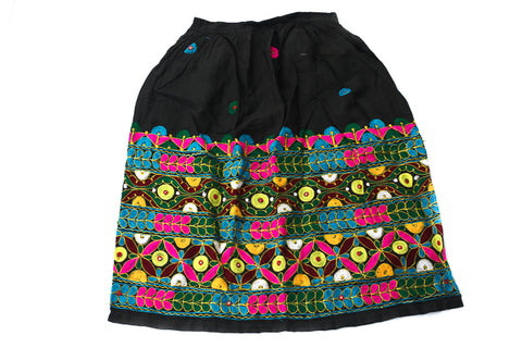 HAND EMBROIDERED GUJARATI BOHO MAXI SKIRT - SPINNING GYPSY