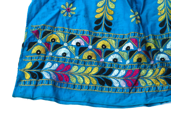 HAND EMBROIDERED GUJARATI BOHO MAXI SKIRT - RADHA'S PEACOCK - Blonde Vagabond