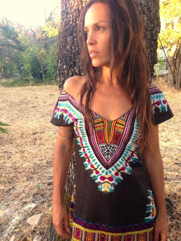 Sri Yantra Festival Tunic - Black & Gold