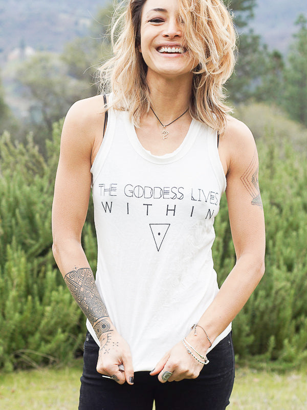 The Goddess Lives Within Tank Top - White - Blonde Vagabond