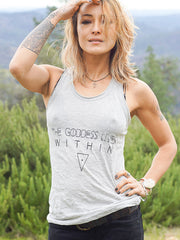 The Goddess Lives Within Tank Top - Light Grey - Blonde Vagabond