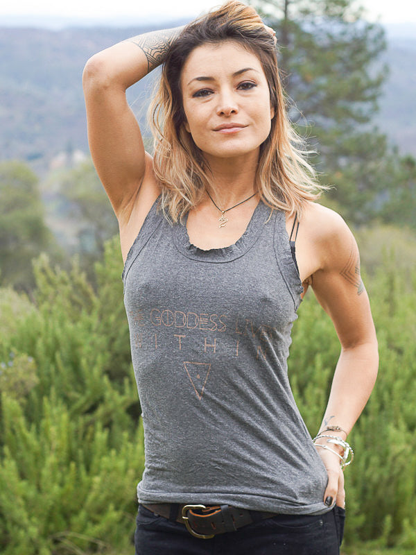 The Goddess Lives Within Tank Top - Dark Grey