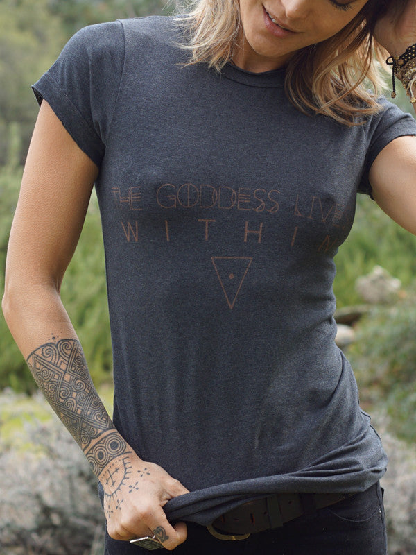 The Goddess Lives Within T-Shirt - Dark Grey - Blonde Vagabond