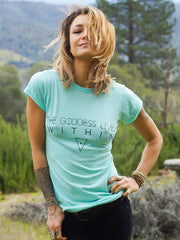 The Goddess Lives Within T-Shirt - Aqua - Blonde Vagabond