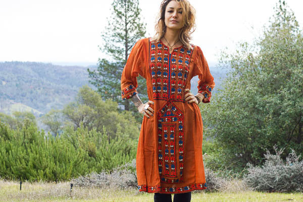Hand embroidered Balochi Tribal Dress - Rainbow Child - Blonde Vagabond