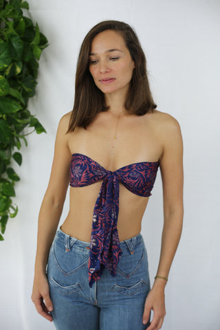 Boho Tie Top - Meadow Frolic Mahogany (One of a kind)