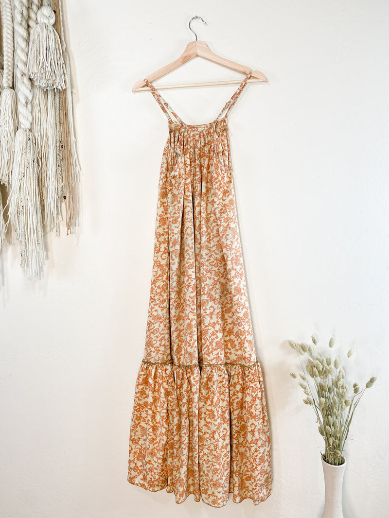 Topanga Maxi Dress - Cream + Rusty Orange